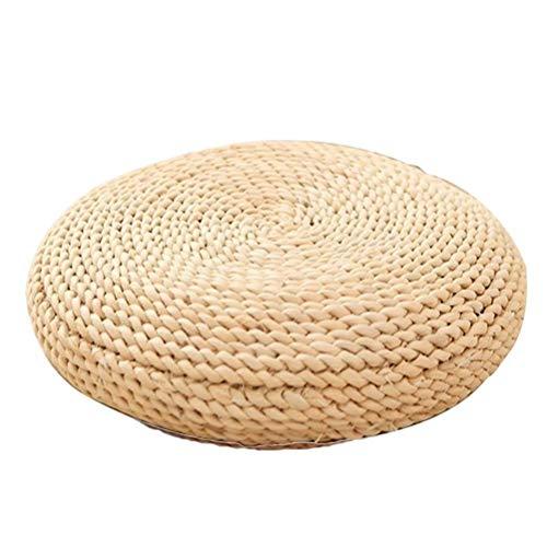 DUOCACL Cojines para sillas, Cojines para el Suelo, Tatami Natural, cojín para Asiento de Yoga, cojín de Paja Tejido, tapete de Punto Redondo para jardín, Comedor, decoración de Patio