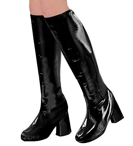 shoperama 60er 70er Lack Damen Stiefel Überzieher Stulpen glänzend Disco Festival Show Revue Kostüm-Zubehör, Farbe:Schwarz