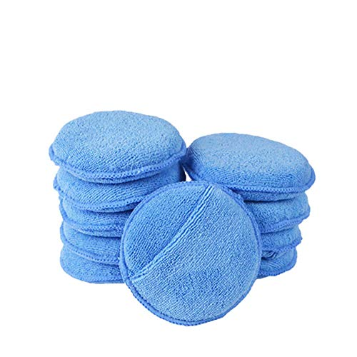 SayHia Microfaser Wax Applikator Pads für Autos mit Gummiband Runde Schwamm Wachs Polieren für Auto Durchmesser 10 Pack Blau