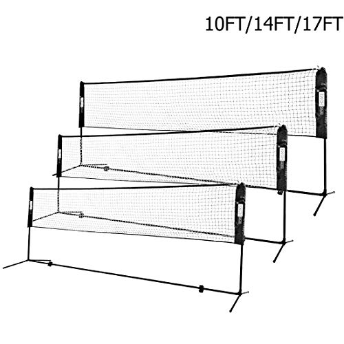 VIVOHOME Portable 10ft Height Adjustable Outdoor Badminton Net Set with Stand and Carry Bag for Volleyball Soccer Tennis Pickleball Black