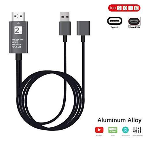 Cable de Smartphone a HDMI, 2 en 1 Tipo C y MHL, Micro USB a HDMI, HDTV, 1080p, Adaptador AV Digital, Cable de duplicado