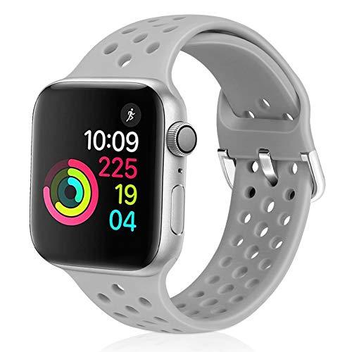 Vodtian Sportarmband kompatibel für Apple Watch, 38 mm, 40 mm, 42 mm, 44 mm, weiches atmungsaktives Silikon, Ersatz-Armband für iWatch Serie 5/4/3/2/1 für Damen und Herren, grau, 42mm/44mm