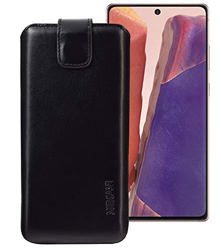 Suncase Echt Ledertasche kompatibel mit Samsung Galaxy Note 20 Hülle *Slim-Edition* Leder Etui (mit Rückzugsfunktion und Magnetverschluss) in schwarz