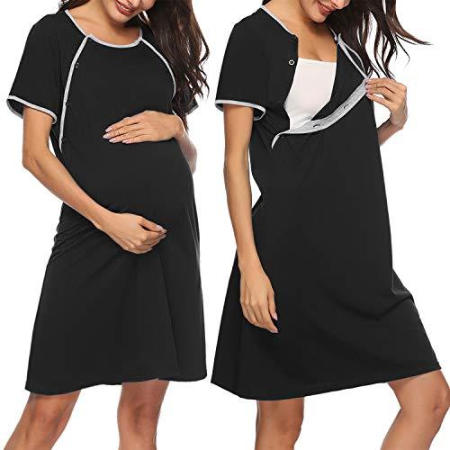 Sykooria Sukienka ciążowa z bawełny, moda ciążowa, koszula nocna do karmienia piersią, damska koszulka do karmienia z krótkim rękawem, z listwą guzikową, idealna dla kobiet w ciąży i karmienia piersią, S-XXL
