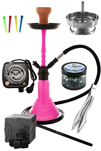 Kaya Neon SPN 480 Set Komplett mit E-Heater Shisha Kohle Kohlezange Einwegmundstücken Kaminaufsatz Einlegesieb und Dampfsteinen
