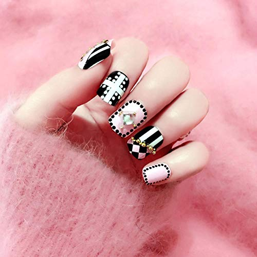 Noir blanc polka dot stripe nail art conseils et femmes strass brillants bricolage faux ongles filles style punk mode faux ongles