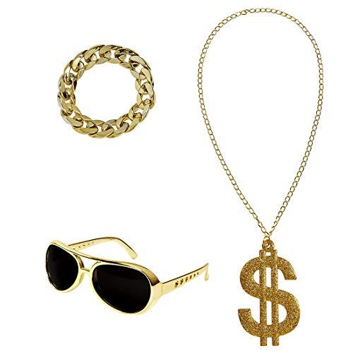 Amakando Prolliges Kostüm-Set 80er & 90er Jahre mit Halskette, Armschmuck & Brille / Gold / Kostüm-Zubehör Dollar für Pimp & Zuhälter / Wie geschaffen zu Karneval & Kostümfest
