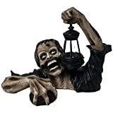 LONGPIN Zombie Crawling out of Grave LED Lantern - Zombie Holding Lantern Solar Powered Garden Light Lamp,Walking Dead Statue for Outdoor Garden, for Halloween ?April Fool Day