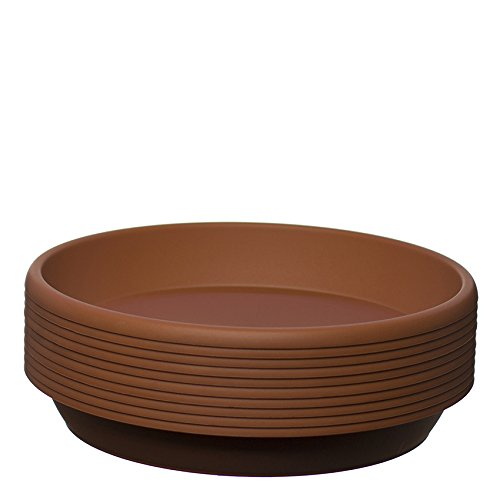 Home Garden Ornaments Coloured Plastic Plant Pot Saucer,Many Colours, Heavy Duty Sizes:12 cm,17cm,20 cm,24 cm,28 cm - 10 pack (12 cm, Light Brown)
