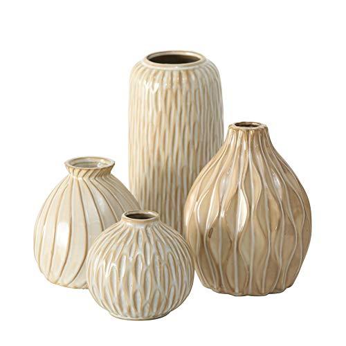 CasaJame 4 Deko Struktur Vasen Sortiert H9-19cm D9-12cm beige aus Porzellan
