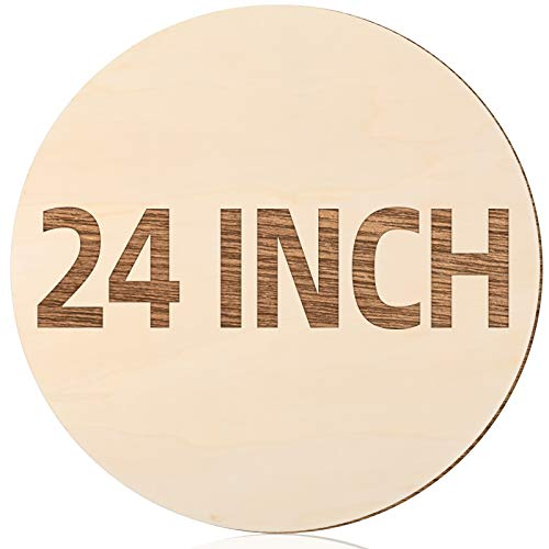 24 Inch Round Wood Circles Unfinished Round Wood Cutouts for Crafts, Door Hanger Painting and Wood Burning (2 Pieces)