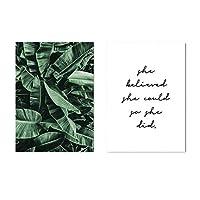 壁の芸術、緑の植物の葉のキャンバス壁の絵画アートポスター北欧の動機付けの引用印刷画像家の装飾フレームなし
