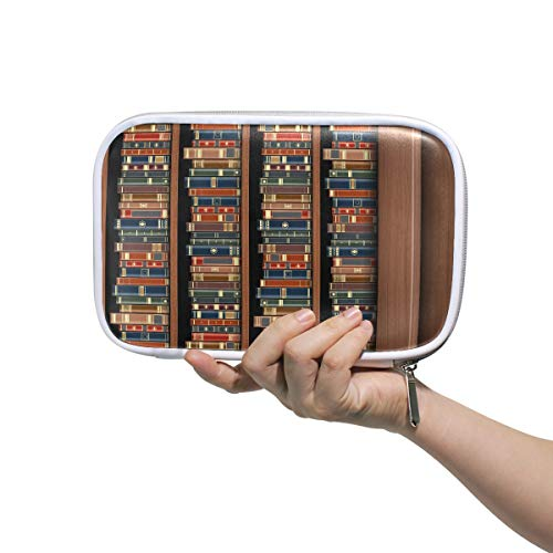 Frau Kosmetiktasche Tisch im Bücherregal Volle Bücher Frau Bleistiftetui Buntstiftetuis Multifunktionale Tasche Kosmetik Organizer Für Männer Frauen