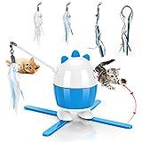 Giocattoli per gatti interattivi, giocattoli a LED per gatti e giocattoli in piume di gatto 2 in 1, giocattoli per esercizi per gatti per interni (blu)
