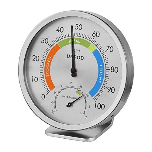 UPPOD Thermo-Hygrometer Präzisions-Hygrometer Aussen Edelstahl Keine Batterie, Loch Edelstahlkörper für feuchte Umgebung Innen/Aussen für Terrasse, Zum Hängen oder Stellen