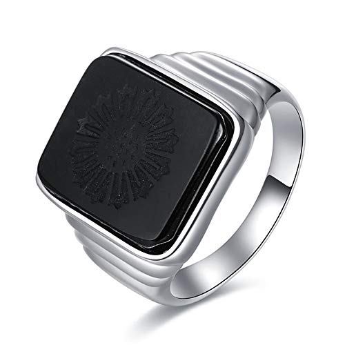 Czjewelry The Great Gatsby Ring Real 925 Sterling Silver Signet Rings for Men Black Onyx Wedding Band Mens Gift Size 5-11