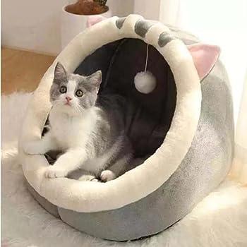 Linghe Lit pour Chat Tapis de Grotte Lavable pour Petit Chien en Peluche avec lit Amovible pour Chat et Maison (S-31x30x28cm,Chat Gris)