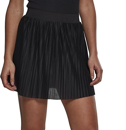 Urban Classics Damen Jersey Pleated Mini Rock, Schwarz (Black 00007), X-Small