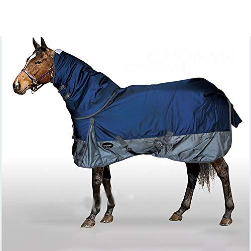 Miaoao-HR Paard Turnout tapijten, 2520D Winter Waterdichte Ripstop Ademende Oxford Doek, Nek Turnout Paard Rug Combo, Zwaar gewicht Turnout Rug, 300G Dik Katoen Geschikt voor Winter