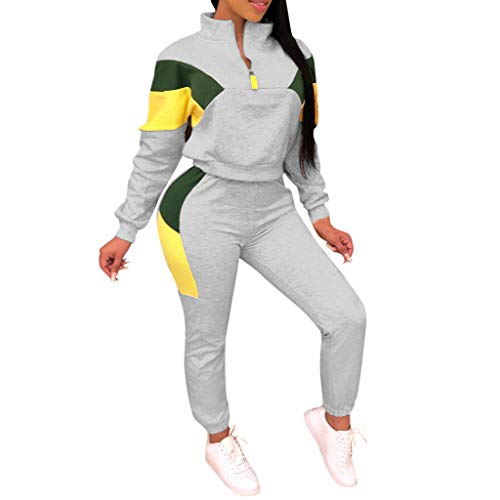 Best Review Of Dainzuy Women's Patchwork 2 Piece Outfits Tracksuit Zipper Front Blouse Sweatsuit Spo...