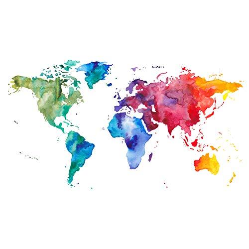 Wandtattoo Wandfolie Weltkarte Landkarte Globus für Wohnzimmer Schlafzimmer Kinderzimmer (Wasserfarbe WW04)