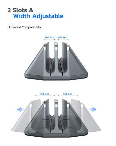Nulaxy Soporte Vertical Dual para Ordenador Portátil, Doble Aluminio Soporte de Escritorio con Base Ajustable… 3