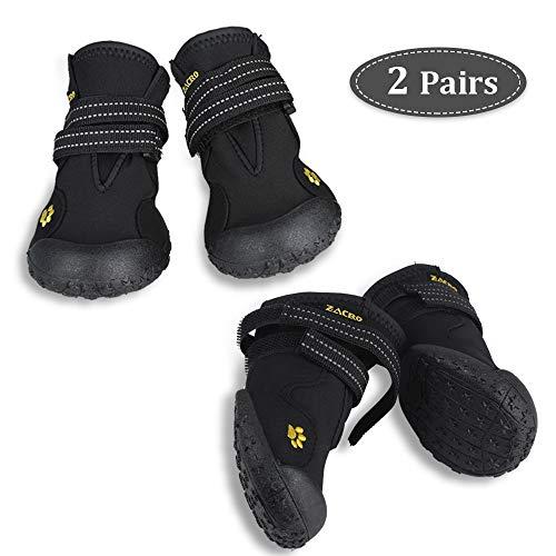 Zacro 4PCS Hundeschutzstiefel Wasserdicht Schuhe mit Wwei Reflektierenden Riemen und Einer Robusten Rutschfesten Sohle für Große, Mittelgroße Hunde, Nr. 8 Schwarz