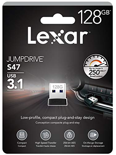 Lexar - Chiavetta USB (3.1) 128 GB, Serie Jump Drive S47 Design Ultra Piatto Plug-And-Stay