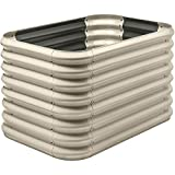 Stratco Double Raised Corrugated Galvanized Steel Metal Outdoor Decor Garden Bed Planter Box with 15 Cubic Feet Capacity, 41 x 28 x 24 Inches, Beige