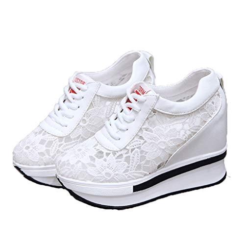Zapatillas de Deporte Transpirables de Encaje de Verano para Mujer, Zapatos al Aire Libre, Plataforma, cuña, tacón Alto, cómodos Zapatos Casuales para Caminar para Mujer