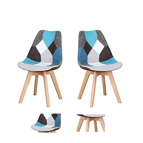 Silla de oficina, sala de estar, silla de comedor, silla plegable, silla de oficina con patas de madera maciza acolchadas, apta para comedor, salón, dormitorio, cocina (Blue-bb, 2)