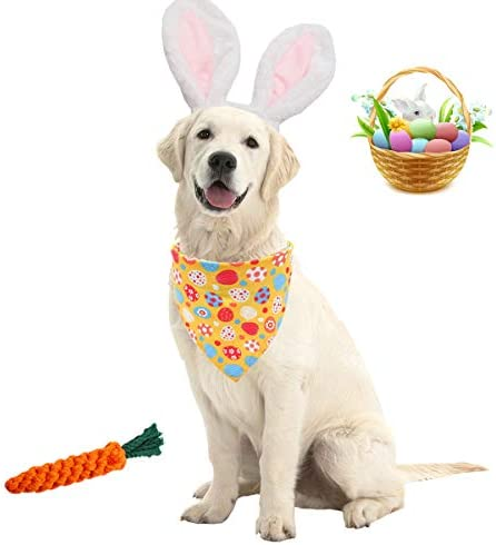 Viewm Easter Dog Eggs Bandana Bunny Ears Headbands with Chew Toys Carrot Triangle Scarf Outfits product image