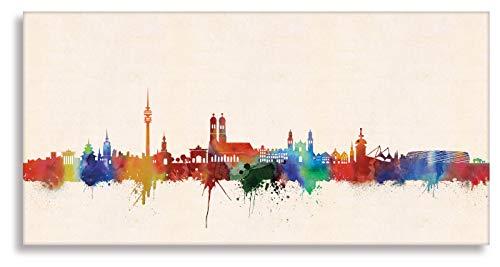 Kunstbruder München Druck auf leinwand Stencil Graffiti - Bild München Skyline Paul London! Bild fertig auf Keilrahmen Kunstdrucke, Wandbilder, Bilder zur Dekoratio (30x60 cm)