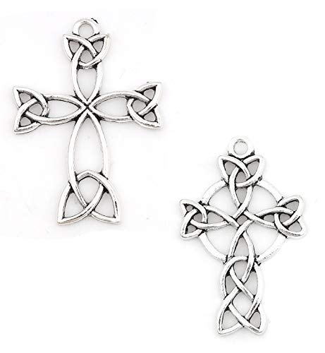 JGFinds Celtic Cross Antiqued Silver Tone Charm Set C, 40 Pack (20 of Each)