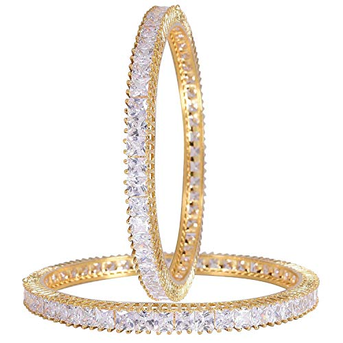 Ratnavali Jewels CZ Zirconia Oro Solitario Diamante Brazaletes Indios Bollywood Joyas Mujer