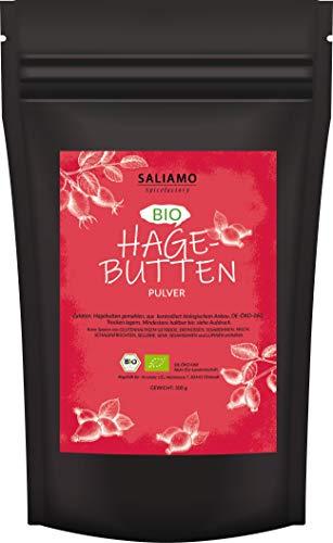 Bio Hagebuttenpulver (Rosa canina) Bio 500 g | 100 Prozent BIO - Rohkostqualität, Pulver aus ganzen Hagebutten gemahlen DE-ÖKO-060 | Saliamo