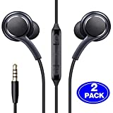 (2 Packs) 3.5mm Aux Wired in-Ear Headphones with Mic and Remote Control Compatible with Galaxy S10 S9 S8 S7 S6 S5 S4 Edge + Note 4 5 6 7 8 9 and More Android Devices-Black