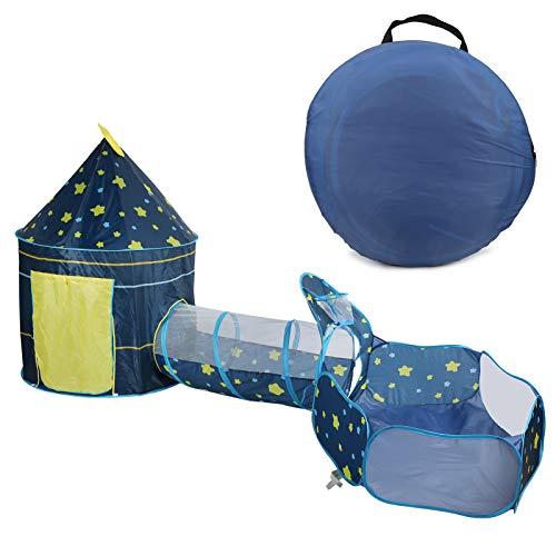 Cikonielf 3-in-1 Spielzelt Pop-up mit Tunnel, Spielzelt Zelt Kinder Kinderzelt Spielhaus Pop Up Kinderzelt Spielzelt Spielhaus für innen und außen für Kleinkinder(Blau)