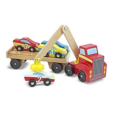 Melissa & Doug Magnetic Car Loader Wooden Toy Set, The Original (Cars & Trucks, 4 Cars and 1 Semi-Trailer Truck, Great Gift for Girls and Boys - Kids Toy Best for 3, 4, 5, and 6 Year Olds)