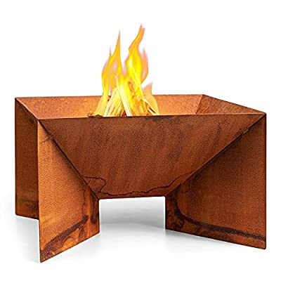 blumfeldt Desert Rust Fire Bowl - Water and Frost Resistant, Fuel: Firewood or Charcoal, Also Suitable as a Plant Bowl, Corten Steel, Ø Material: 1.5 mm, 52 x 32 x 46 cm (WxHxD), Shape: Square from Blumfeldt