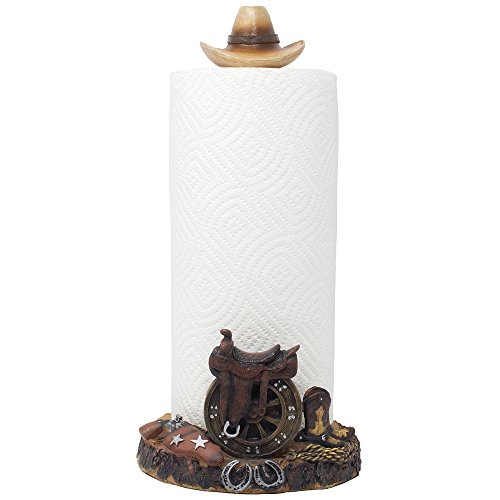 Decorative Country Western Paper Towel Holder with Cowboy Hat, Horse Saddle, Cowboy Boots and Horseshoes for Kitchen Countertop Decor As Gifts for Cowboys