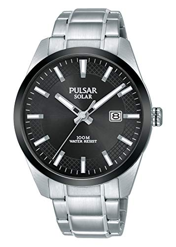 Pulsar Herren Analog Solar Uhr mit Edelstahl Armband PX3183X1