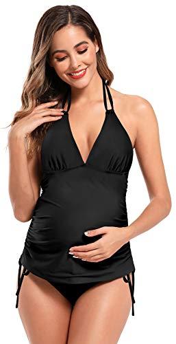 SHEKINI Mujer Bañador de Maternidad Tankini Bañador con Lmpresión Dividido Set de Maternidad Traje de Baño Talla Grande (L, Negro B)