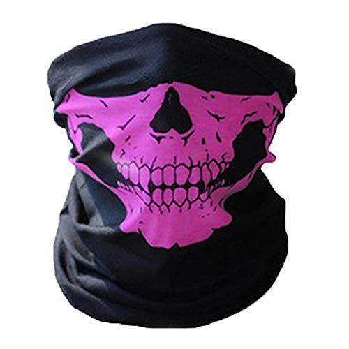 JK Home Seamless Totenkopf Bandanas Gesichtsmaske Stirnband Schal Headwrap Neckwarmer - 12 in 1 Multifunktions Outdoor Sport Einheitsgröße rose