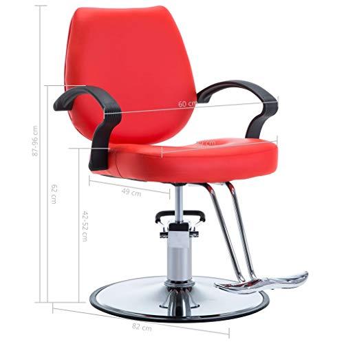 mewmewcat Silla de Peluquería Sillón Peluquería con un Pedal Reposapiés 60 x 82 x (87-96) cm Rojo