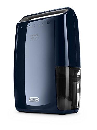 De'Longhi DEX16F - Deshumidificador silencioso, función Secado y purificador, 210 W, capacidad deshumidificación 16L/24h, depósito extraíble 2.1L, color azul marino