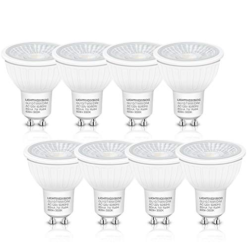 Dimmable GU10 LED Bulbs - Flicker Free 75W Halogen Equivalent, 600LM Warm White 3000K, UL Listed, 7W GU10 Recessed Lighting Bulb, Spotlight Bulb, for Track Lighting, Pack of 8