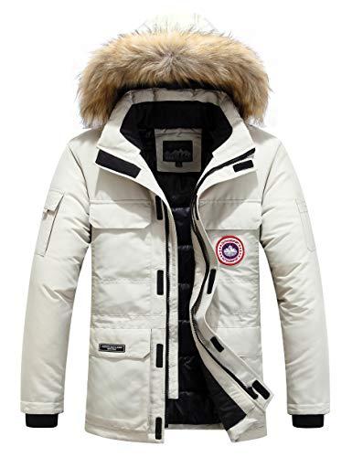 Herren Daunenjacke Winterjacke Fur Hooded Puffer Jacket Fell Pelzmantel Winterparka Pelzkragen Mit Kapuze Winter Warme Mäntel Jacken (Weiß,4XL)