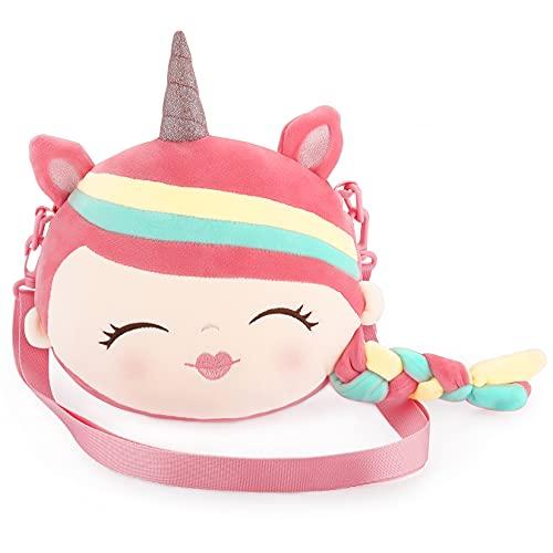 Plüsch Einhorn Umhängetasche für Mädchen, 24cm Süße Handtaschen Cartoon Taschen für Kinder Kleinkind Frauen Weiche Kleine Handtaschen Mit Verstellbare Tragegurt Geschenk Geldbeutel - Rosa