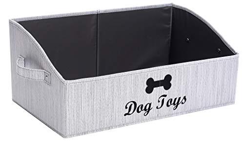 Morezi Linen-Cotton Blend Dog Toy Basket and Dog Toy Box, Dog Toy Basket Storage - Perfect for organizing pet Toys, Blankets, leashes, chew Toys - Grey